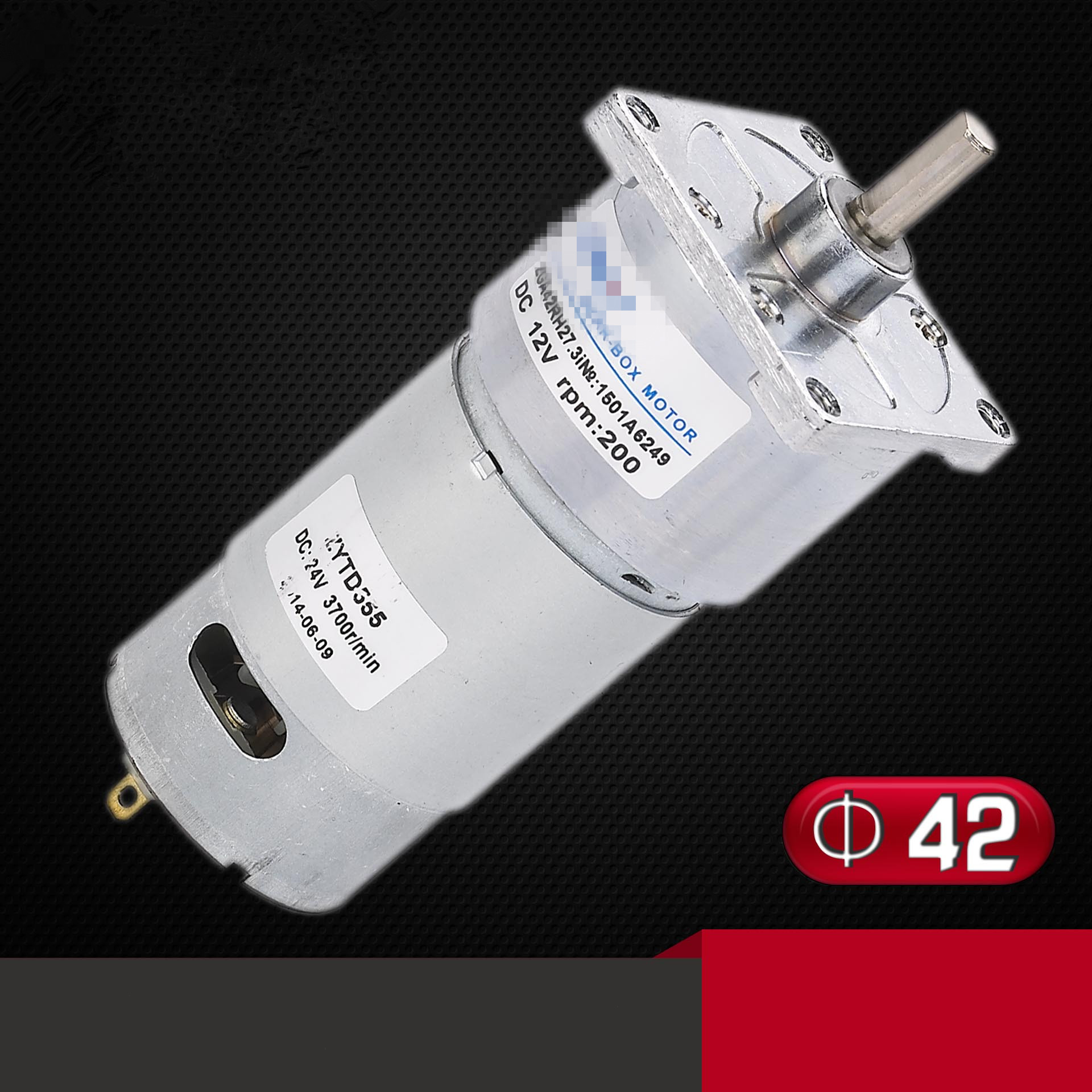 ZGA42FH DC Geared Motor 42mm DIA Square Clamshell DC 12V 24V Output Shaft Center 10RPM-750RPM zga37rh dc 24v 25rpm 6mm shaft dia cylinder permanent magnet geared box motor