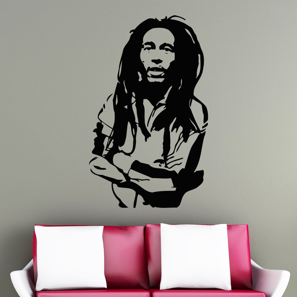 Music Wall Decals Bob Marley Reggae Rasta Jamaica Large Vinyl ...
