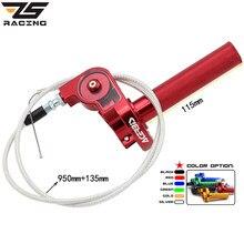 ZS Racing-empuñadura de acelerador + Cable de acelerador, 22mm, CNC, Acerbs, CRF50, 70, 110, IRBIS, 125, 250, Dirt Bike, motocicleta