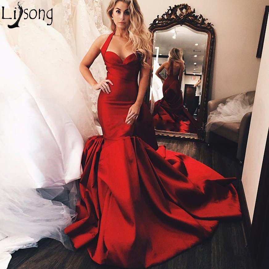 Fabulous Red Mermaid   Prom     Dresses   Halter V Neck Ruffled Long Evening Gowns Ruched Sweep Train Robe de soiree Satin Formal   Dress