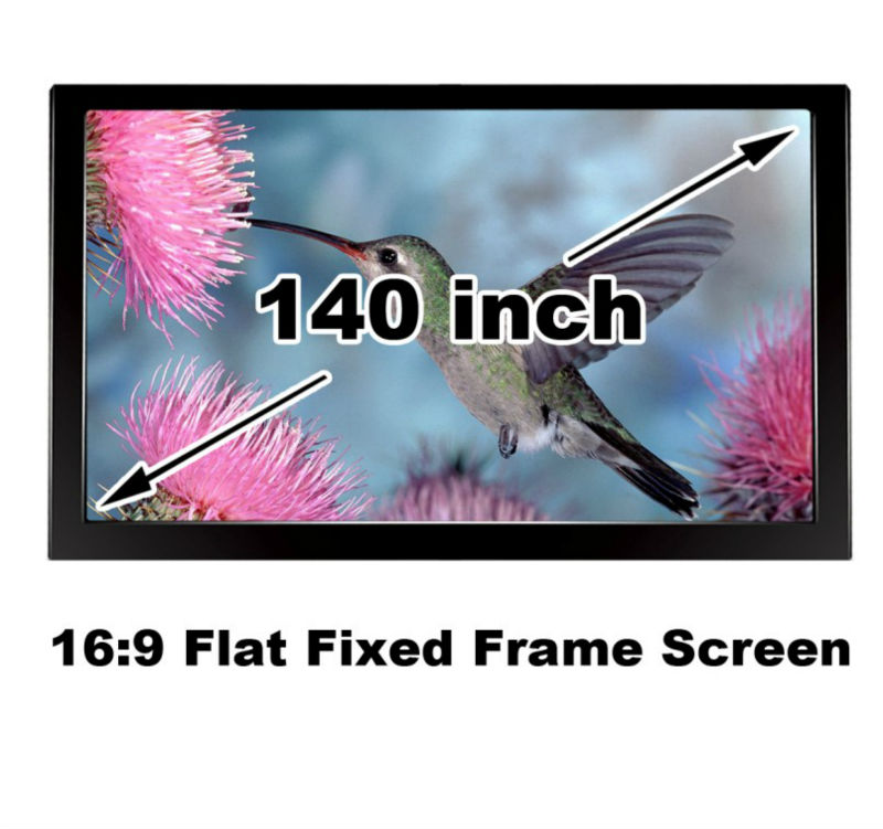 3D Cinema Screen 140-inch 16:9 Flat Fixed Frame Projector Screens High Brightness Matt White Material low price 92 inch flat fixed projector screen diy 4 black velevt frames 16 9 format projection for cinema theater office room