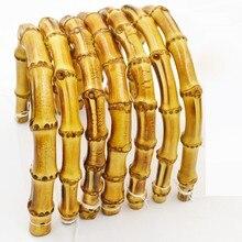 [Telastar] One Pair 18cm Fasten Bamboo Bag Handle Metal Clasp DIY Parts And Accessories Handbag Hanger Handles For