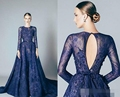Navy Blue Long Sleeves Lace Prom Dresses 2017 A-line Elegant Women Formal Evening Wear Sexy See Through Custom Made Couture