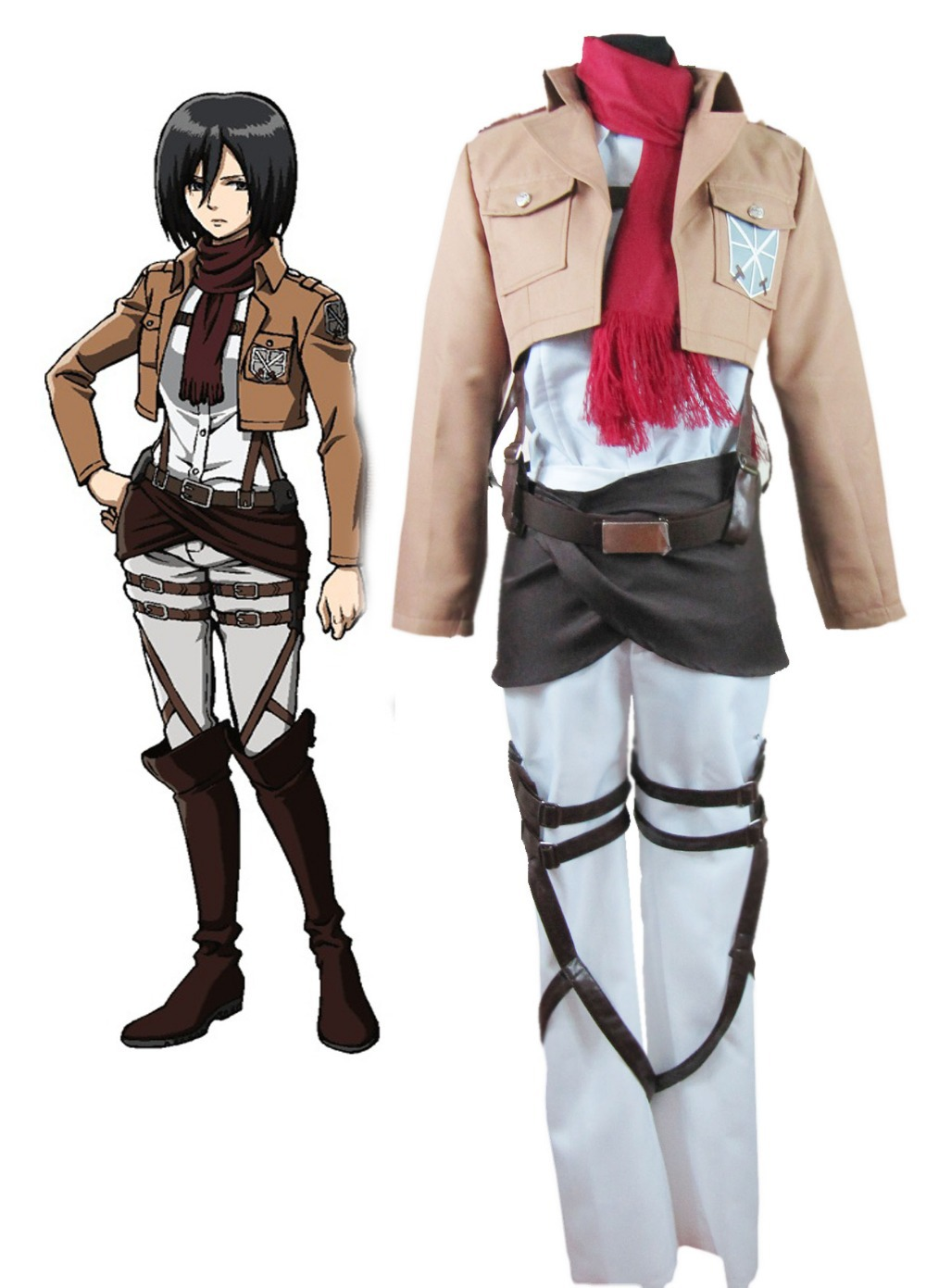 Free Shipping Attack on Titan Mikasa Ackerman Trainee Class Uniform Anime Cosplay Costume