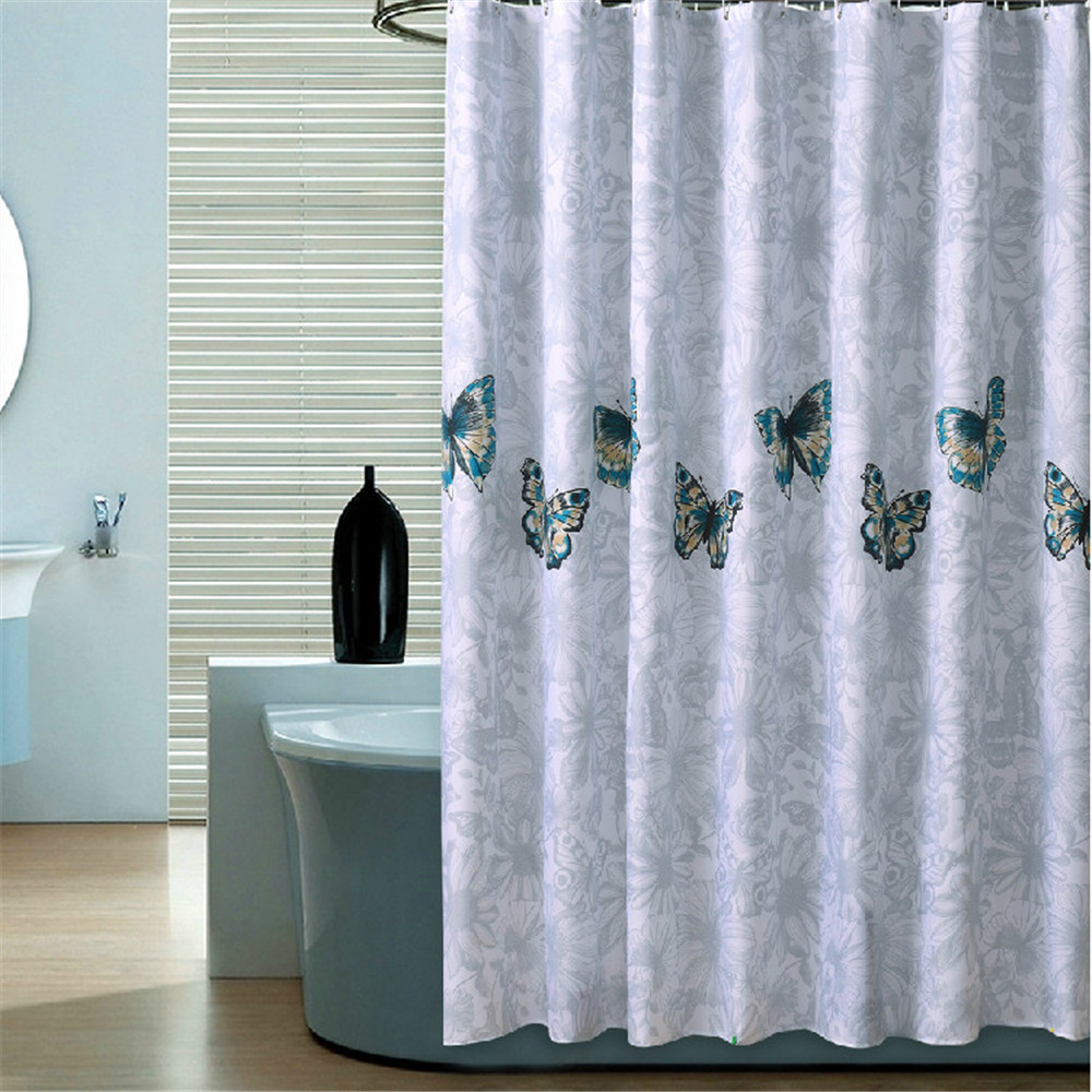 1 Pc Waterproof Butterfly-Flying Shower Curtain for Home and Bathroom