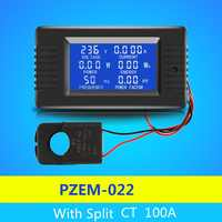 AC 6 In1 220V 100A Single Phase Digital Panel Ampermeter Volt Watt Kwh Power Factor Meter With Split CT