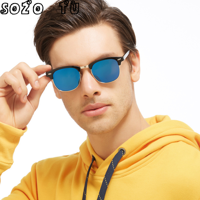 SOZO TU Retro Club Sunglasses Women Men Brand Designer Rimless Club Round Sun Glasses UV ...