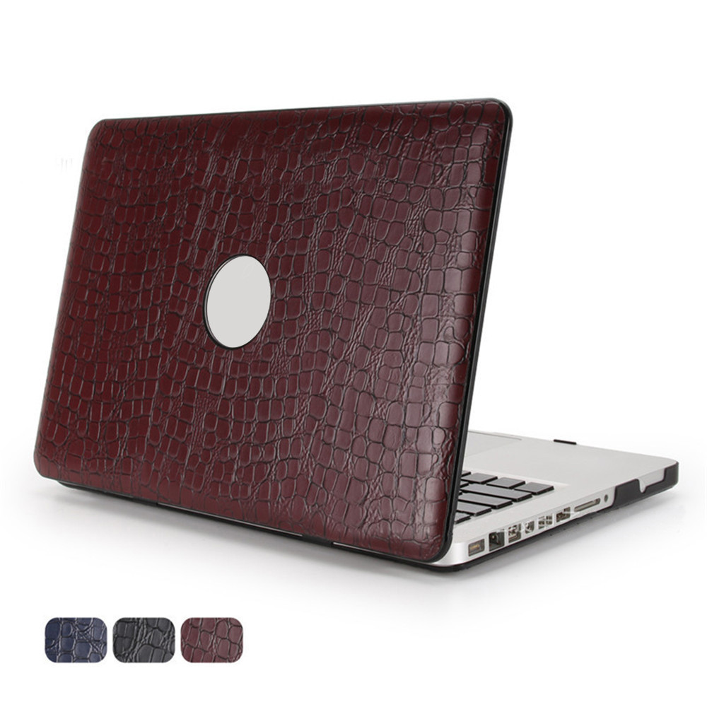 Crocodile Pattern Laptop Case Cover for Macbook Air Pro Retina 11 12 13 15 PU Leather Hollow Logo Protector Shell