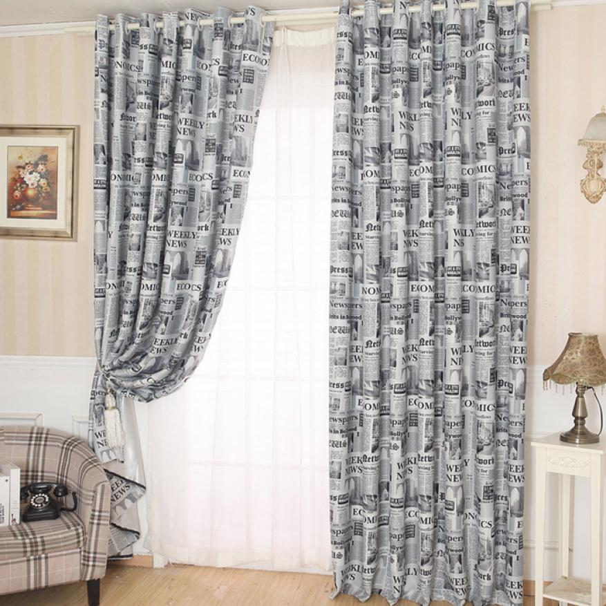Modern Newspapers Pattern Door Window Curtain Drape Panel Scarf Valances  Curtain For Living Room Bedroom Size