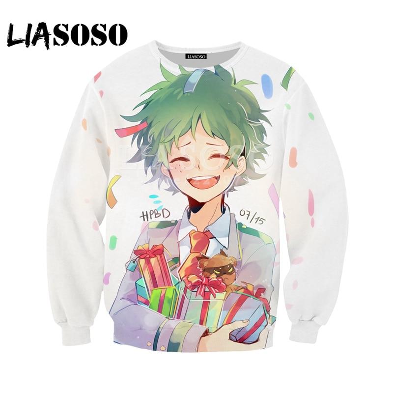 LIASOSO2018 New Men and Women Sweatshirt Anime My Hero Academia Sweatshirt 3D Color Print Sweatshirt Top Brand Clothing   M058