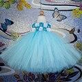 Azul turquesa Gasto Rosas Flor Branca Vestido Da Menina Para A Festa de Aniversário Perfeito para qualquer ocasião especial Vestido tutu Branco PT162