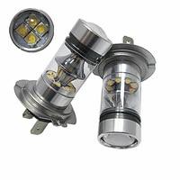 2PCS High Quality H7 100W High Power 20SMD Car Auto White LED Headlight Bulbs Fog Lamp