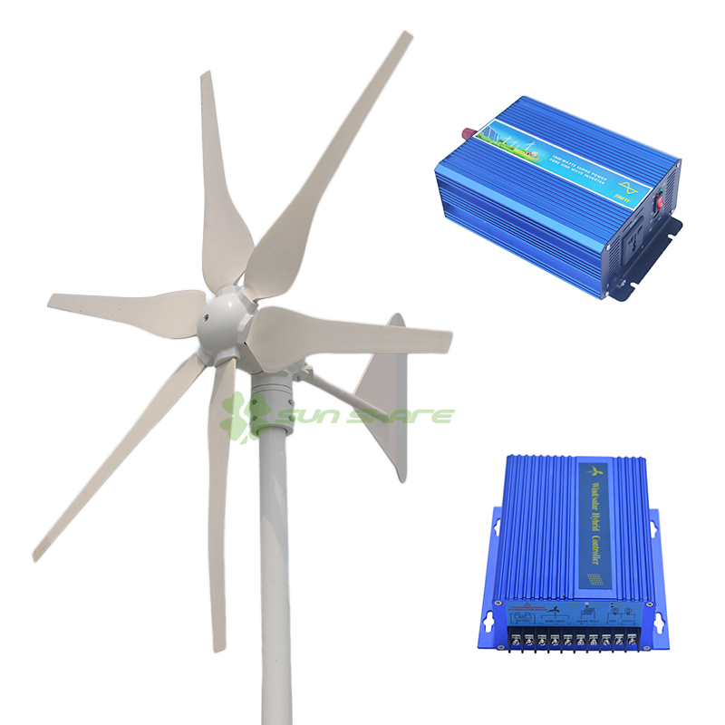 Free shipping Boat wind turbine 300w 110V/220v/230v/240v (wind generator 300w+hybrid controller400w +500w pure sine inverter ) free shipping 600w wind grid tie inverter with lcd data for 12v 24v ac wind turbine 90 260vac no need controller and battery