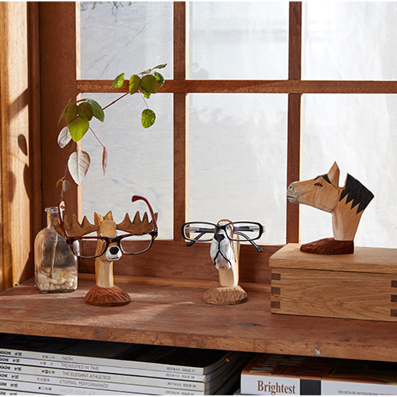 Hand-carved Deer /Horse Glasses Stand Wood Carving Crafts Lovely Eyeglasses Sunglasses Stand Holder Rack ...