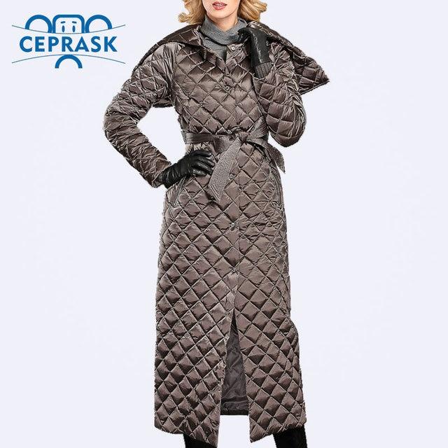 Ceprask 2016 de Alta Qualidade casacos de Inverno Quente Para Baixo Mulheres Jaqueta Plus Size Alongar Feminino Cinto Fino de Moda Parka