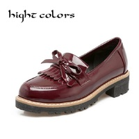 Plus Size 40 43 High Quality Patent Leather Grey Beige Wine Red Black Low Heeled Round