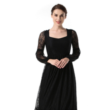 Spring women's new lantern sleeves openwork lace dress fashion elegant ladies party dress openwork lace midi dress