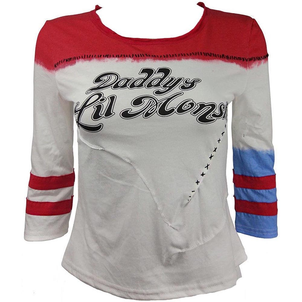 Hitmebox 2017 New Women's Harley Quinn Daddy's Lil Monster 3/4 Sleeve Baseball Shirts Ladies Girls Suicide Squad Print Top Tees
