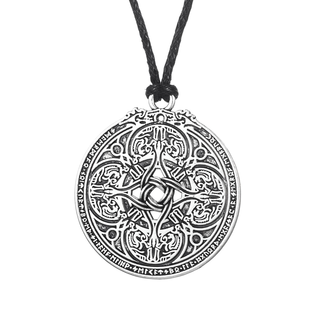 Dawapara Viking Dragon Shield Knot Norse Cloak Pin Runes Pendant for Soldiers & Military Wicca Charm String Necklace Amulet