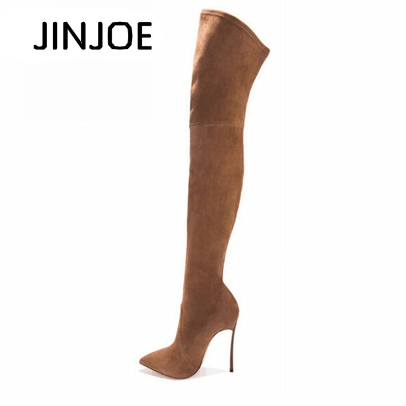 купить Autumn Winter Women Boots Stretch Faux Suede Slim Thigh High Boots Fashion Sexy Over the Knee Boots High Heels Shoes Woman 35-43 по цене 2431.17 рублей
