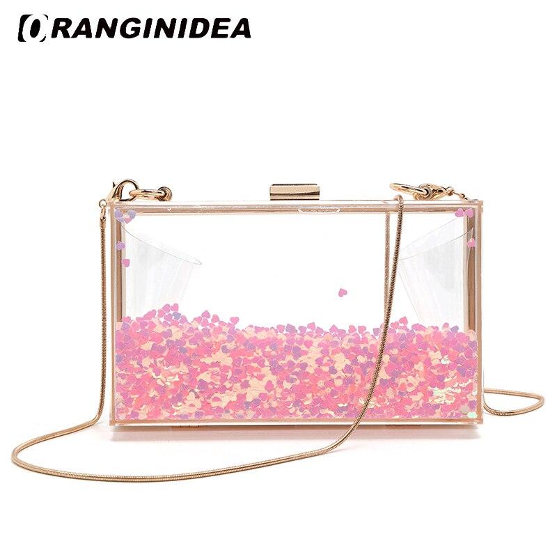 Women Rainbow Love Heart Shoulder Bag Ladies Chain Crossbody Bag Evening Handbag