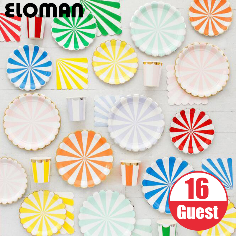 ELOMAN 16 24 32 Guest rainbow strip paper tableware sets for bithday wedding holiday garden party cups plates napkin decorations