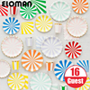 ELOMAN 16 24 32 Guest Rainbow Strip Paper Tableware Sets For Bithday Wedding Holiday Garden Party