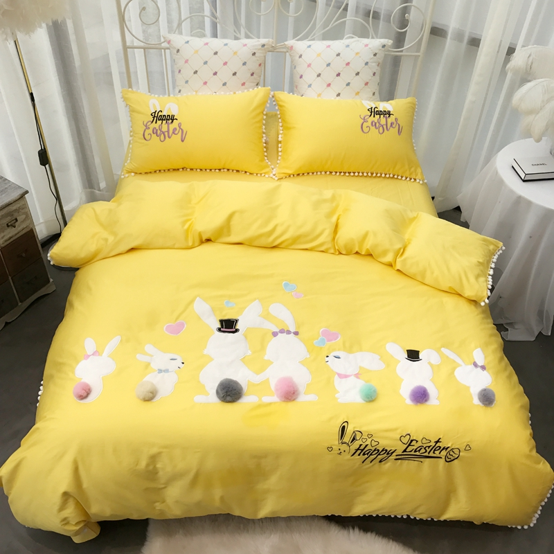 Rubbit Cute Girls Bedding set Pink Yellow Bed cover Queen King size Bed Sheet Linen set