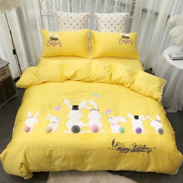 438ea142e7 Rubbit Cute Girls Bedding set Pink Yellow Bed cover Queen King size Bed  Sheet Linen set
