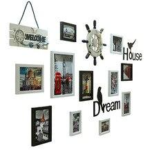 Marco de fotos negro Vintage marco de fotos de pared moderno decoración de la pared de la foto de la boda marco de fotos de la pared de la familia LZJ058
