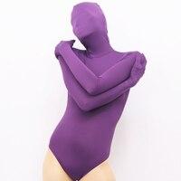 Vente chaude sexy violet lycra spandex fétiche femmes catsuit haute élastique lait soie triangle conjoint unisexe collants zentai costumes