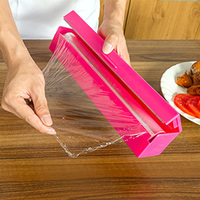 New Home Kitchen Tool Foil Cling Film Cutter Wrap Dispenser Cutter Plastic And Stainless Steel Storage