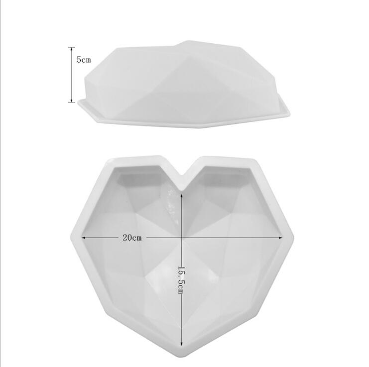 Image 4 - SHENHONG 3D Diamond Love Heart Dessert Cake Mould Pop Silicone Art Mold 3D Mousse Baking Pastry Silikonowe Moule Decoration-in Cake Molds from Home & Garden