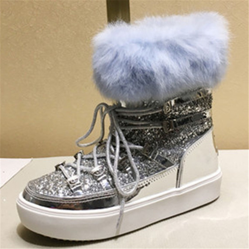 2019 Winter Moon Snow Boots Bling Glitters Lace Up Fur Shoes Woman Platform  Ankle Boots Eyes Fashion Botas Mujer Combat Boots-in Ankle Boots from Shoes  on ... c9226a2f61e1