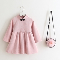 2017 Baby Girl Long Sleeves Dress Children Brand Solid Color Corduroy Clothes Girl Chinese Style Cheongsam