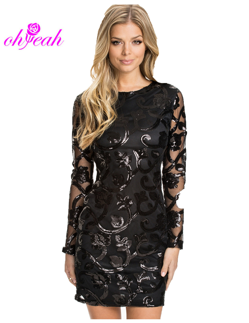 Cheap Black Sequin Dresses