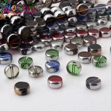 Olingart 10 pçs/lote vidro cristal chapeamento de metal cores misturadas plana forma redonda contas diy colar pulseira jóias fazendo