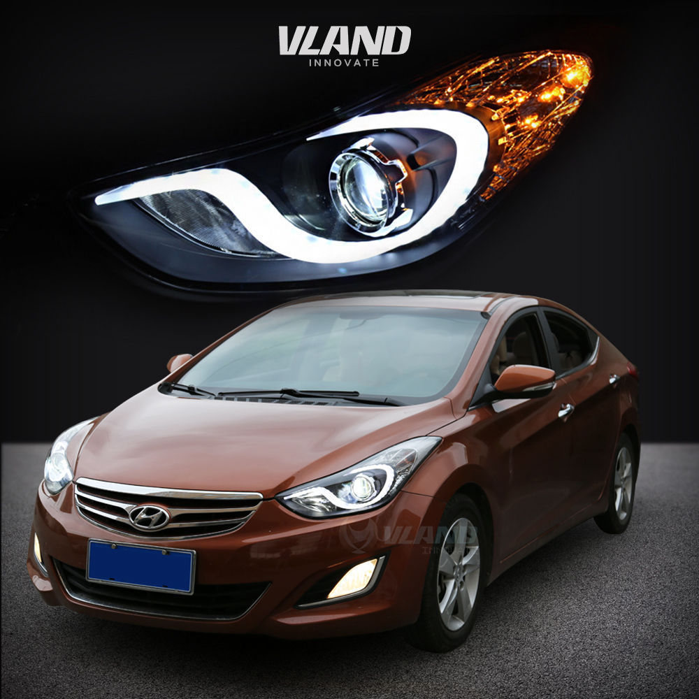 LED DRL Projector Headlights For Hyundai Elantra 2011 2012 2013 Angel Eyes HID H7 Xenon Head Lamp doogee protective pu leather case for doogee dg800 white