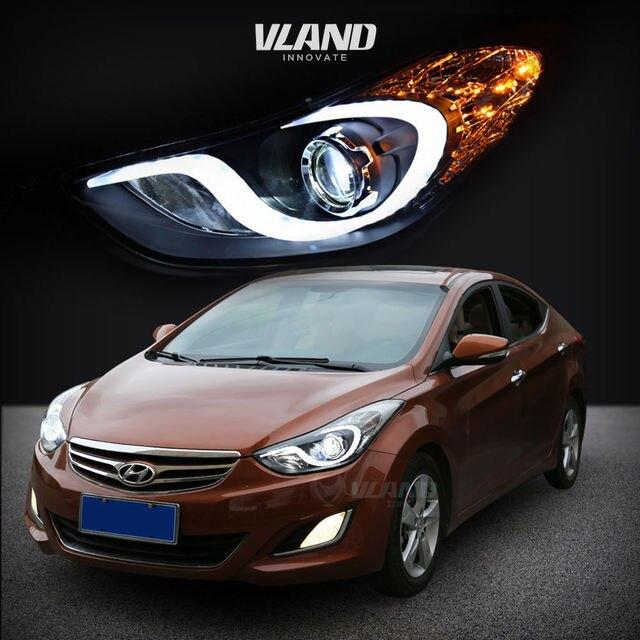 LED DRL Projector Headlights For Hyundai Elantra 2011 2012 2013 Angel Eyes HID H7 Xenon Head Lamp