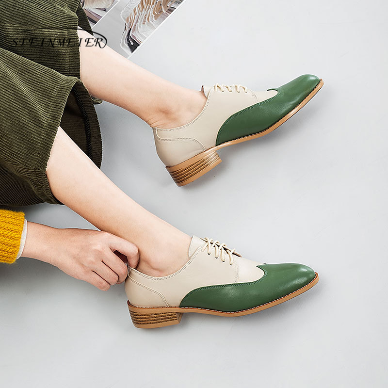 Women s Flats Oxford Shoes Woman INS Hot Genuine Leather Sneakers Ladies Brogues Vintage Casual Shoes