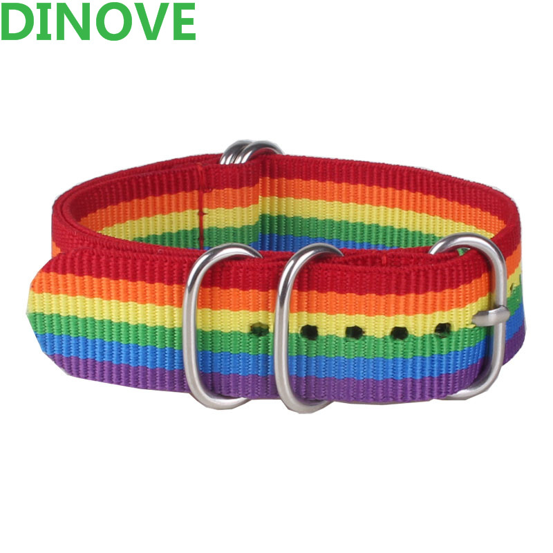 DINOVE  Heavy duty nylon straps 18mm 20mm Rainbow color Nylon Watch band NATO strap zulu strap watch strap silver ring buckle страпон ff heavy duty strap on 337900pd