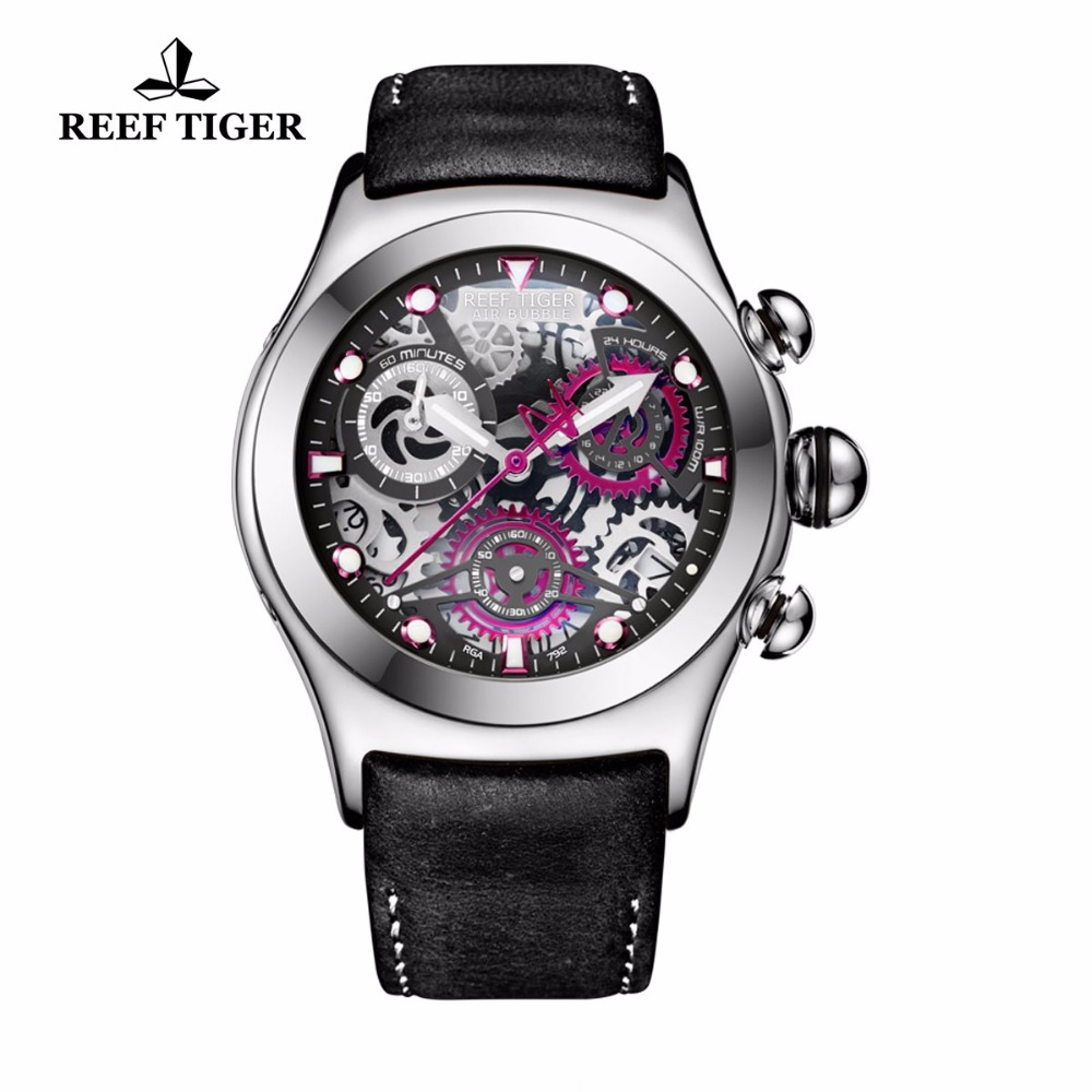 Reef Tiger/RT Luminous Sport Watches with Chronograph Date Skeleton Dial Three Counters Steel Watches for Men RGA792