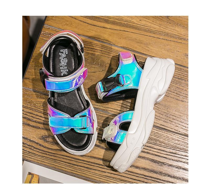 Women Sandals 2019 New Summer Sandals Ladies Casual Shoes Women Bling Wedges Buckle Strap Platform Shoes 5 CM Sandalias Mujer