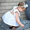 Bobo choses 2017 t-shirt do verão do bebê meninas sólido branco cor tops manga voando escavar babados criança bebê meninas roupas