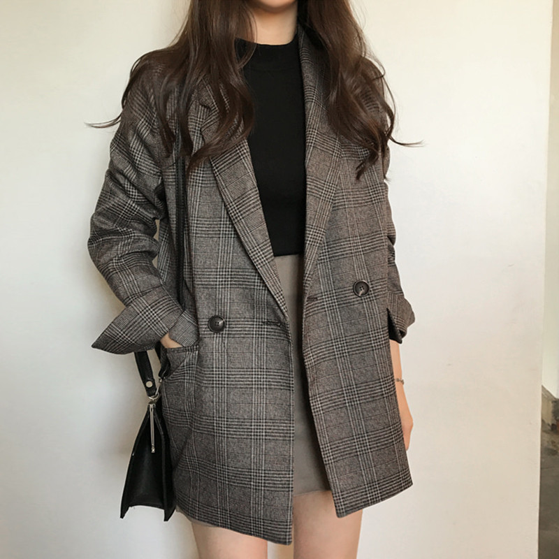 2020 Spring Autumn Plaid Blazer Women Double Breasted Blazers Long Sleeve Suit Jacket Female Casual Coat Female Outerwear X752