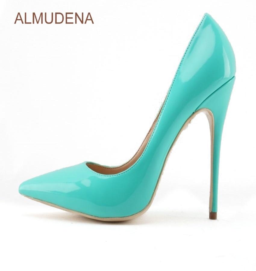 ALMUDENA Women Popular Luxury <font><b>Turquoise</b></font> Color Patent Leather Pumps Stiletto Heels Pointed Toe Shallow Cut Banquet <font><b>Shoes</b></font> US10