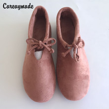 Careaymade-2017 Spring/Summer art casual shoes,Shallow Mori girl lace up shoes,Soft sole scrub flock ventilation shoes,6 colors