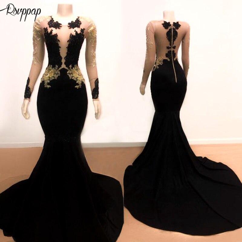 Longues robes de bal élégantes 2019 Sexy Style sirène à manches longues haut dentelle africaine noir Stretch Satin robe de bal