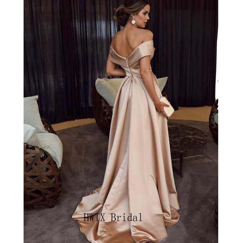 Elegant Long   Prom     Dresses   Off Shoulder Sexy Split Backless A Line Floor Length 2019 Arabic Party Formal Gown Women Evening   Dress