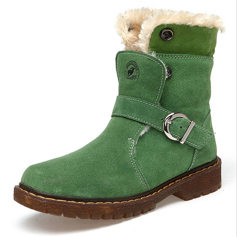 Winter Boys Girls Snow Boots Genuine Leather Children's Shoes Waterproof Mid-Calf Winter Warm Plush Fashion Shoes for Boys 2018 winter fashion boys